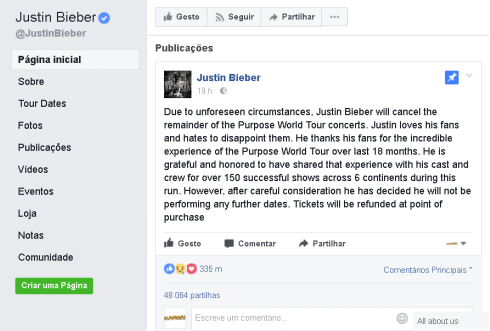 Bieber cancela tour
